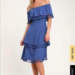 Lulus blue midi dress with tassels